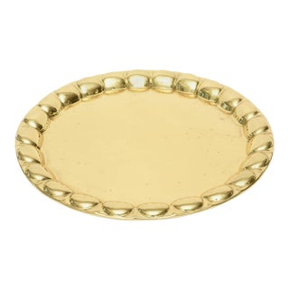 Hand-Hammered Circular Polished Brass Monumental Serving/Barware Tray For Sale