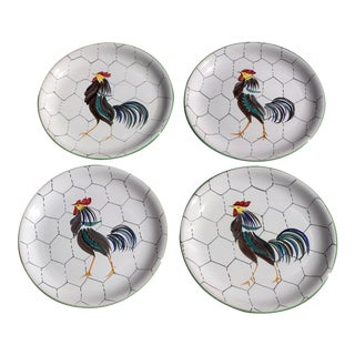 1950s Italian Hand Painted Rooster Dinner Plates - Set of 4 For Sale