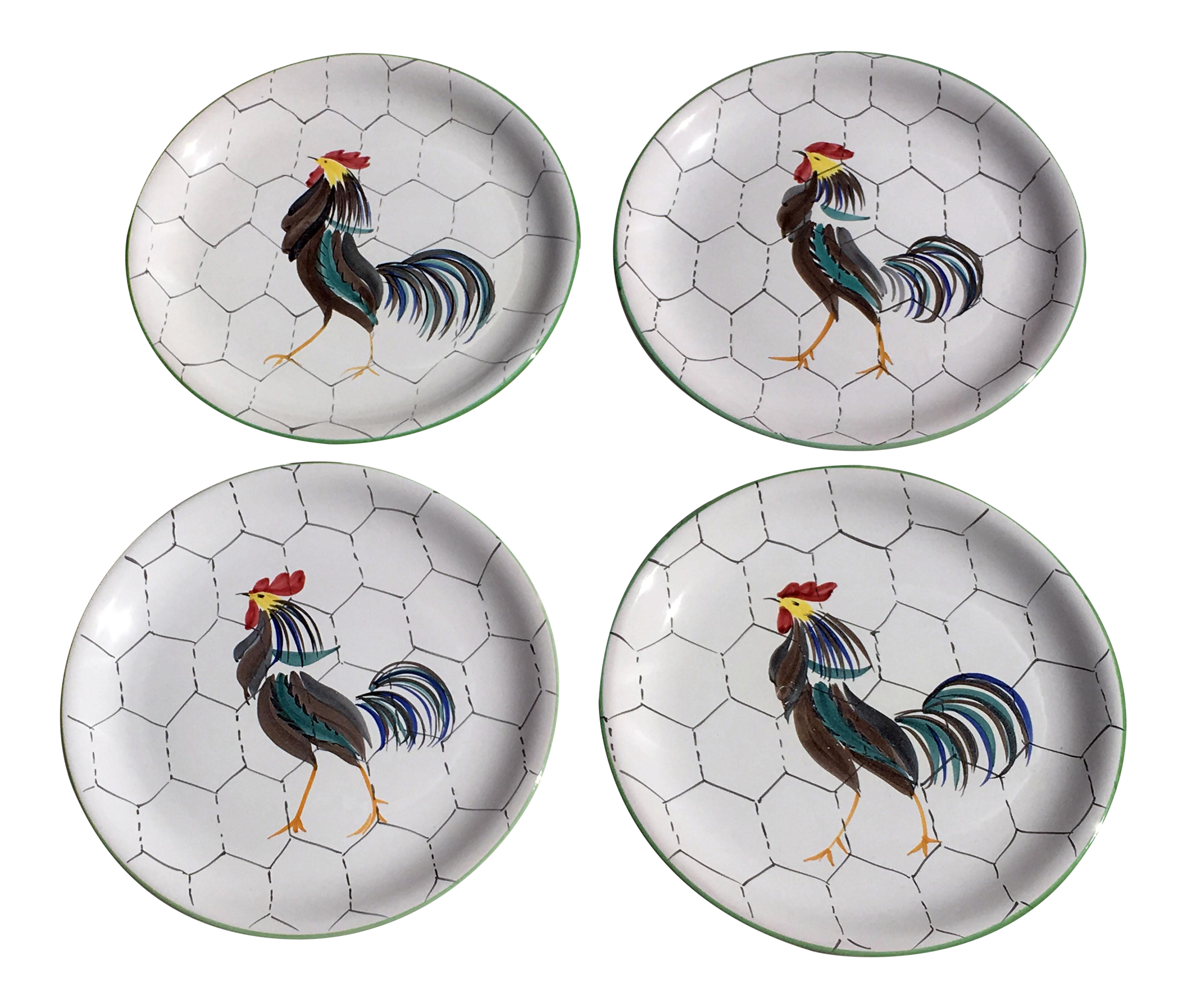 1950s Italian Hand Painted Rooster Dinner Plates - Set of 4  sc 1 st  Chairish & 1950s Italian Hand Painted Rooster Dinner Plates - Set of 4 | Chairish