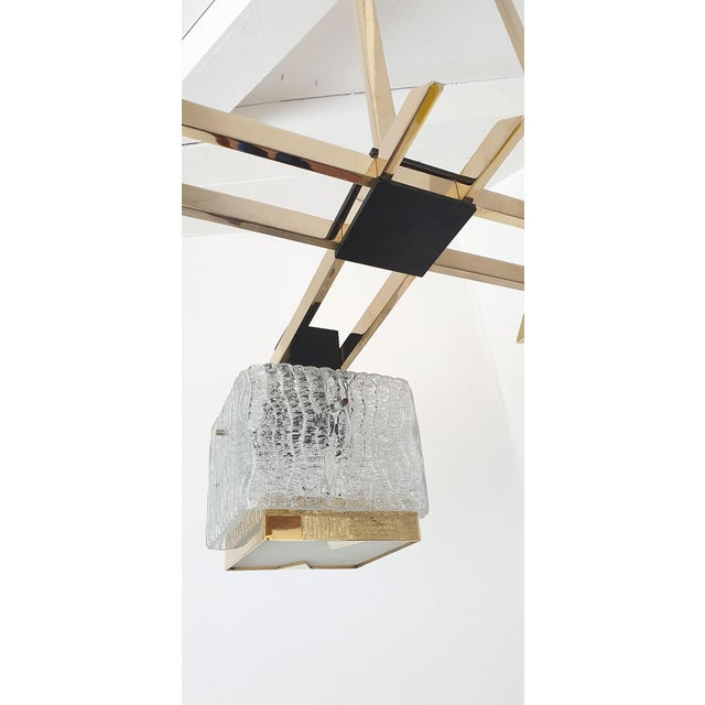 Gold Geometric Mid Century Modern Chandelier by Maison Arlus, Circa 1950s For Sale - Image 8 of 9