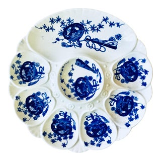 19th Century Victorian Porcelain Flow Blue Oyster Plate For Sale