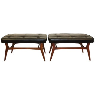 Mid Century Danish Modern Black Leatherette Seat Teak Benches - a Pair