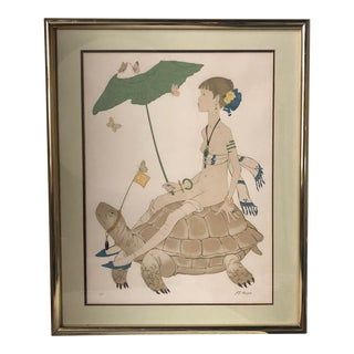 1970s Vintage Philippe Henri Noyer 'Lady and Tortoise' Print For Sale