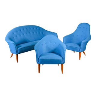 Mid 20th Century Kerstin Hörlin-Holmquist Paradise Sofa and Chairs - Set of 3 For Sale