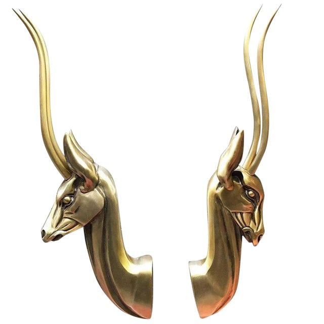 Modernist Anodized Aluminium Gazelle Wall Sculpture Pair by Pendergast For Sale