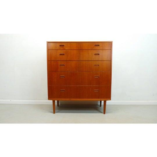 1960s Mid Century Danish Modern Teak Chest 5 Drawer Dresser by Falster For Sale - Image 9 of 9