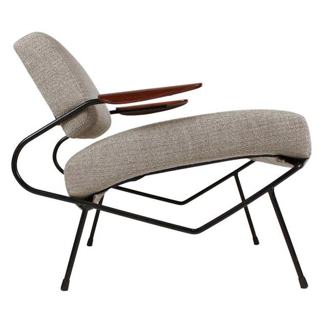 Dan Johnson Iron Lounge Chair With Bent Walnut Plywood Armrests For Sale - Image 10 of 10