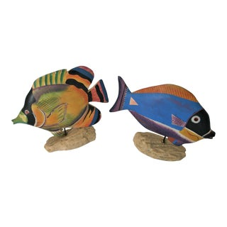Wooden Hand-Painted Tropical Fish - a Pair For Sale