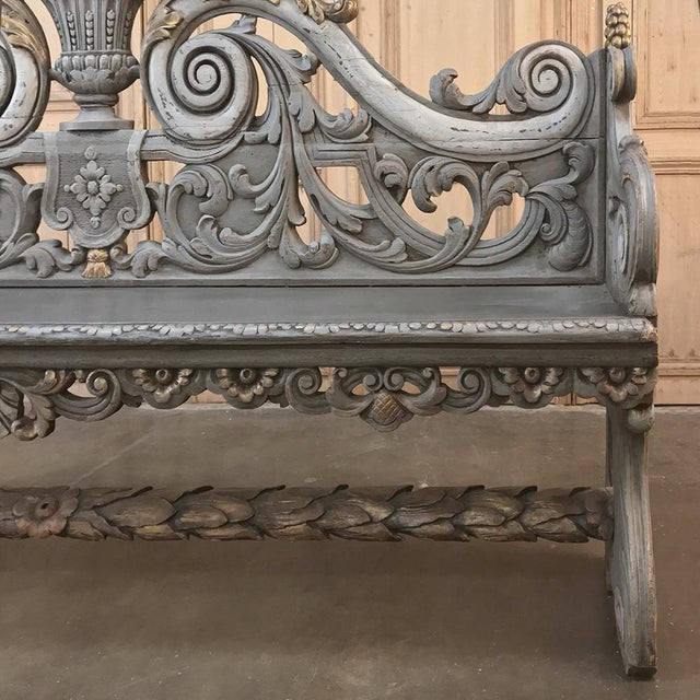 Gold 18th Century Dutch Baroque Painted Hall Bench For Sale - Image 8 of 13