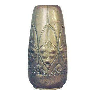 German Wmf Secessionist/Art Nouveau Hammered Brass Vase For Sale