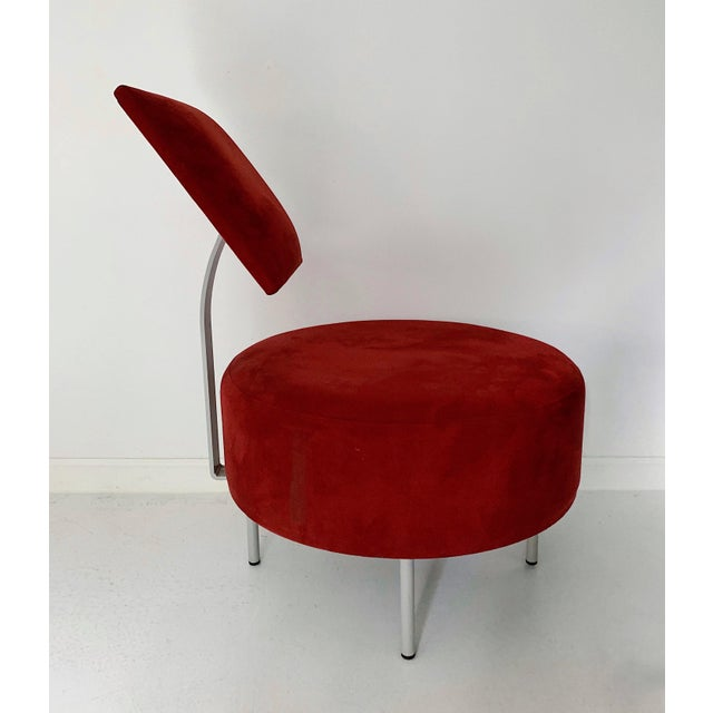 Contemporary 1980's Vintage Andrew World Contemporary Red Round Lounge Chair For Sale - Image 3 of 6