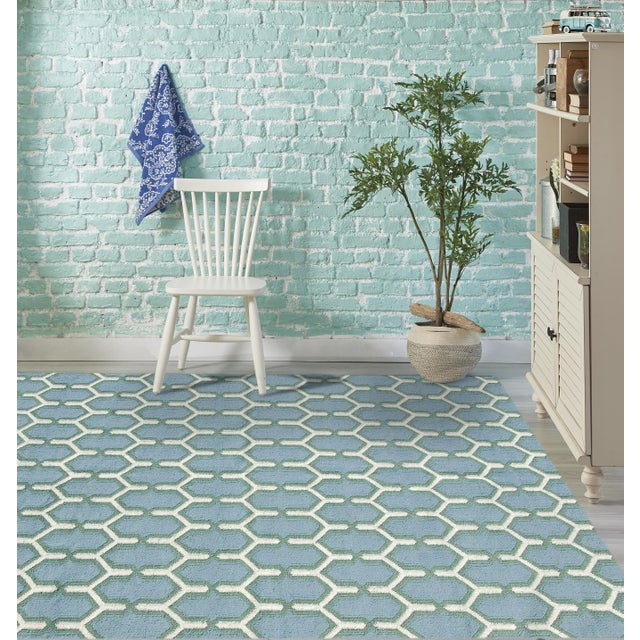 Contemporary Zara Trellis Sky Blue Flat-Weave Rug 3'x5' For Sale - Image 3 of 4