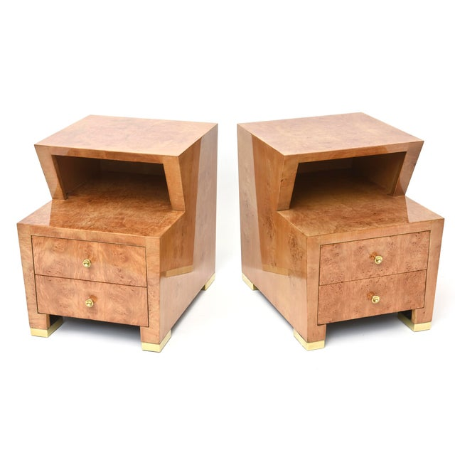 Brown Pair of Sir Edmund Spence Burled Maple Two-Drawer Night or End Tables For Sale - Image 8 of 10