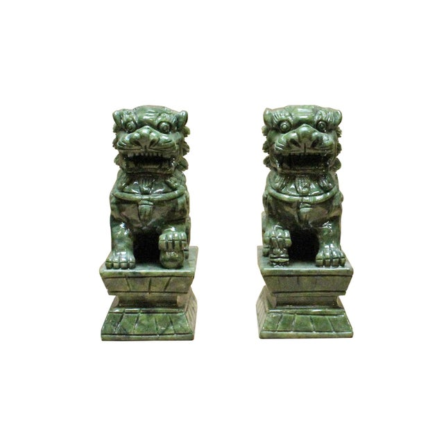 Stone Chinese Green Stone Carved Foo Dog Fengshui Figures - a Pair For Sale - Image 7 of 7