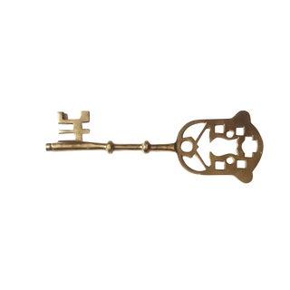 Vintage Large Solid Brass Decorative Skeleton Key For Sale
