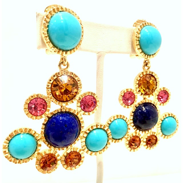 Modern 20th Century Kenneth Jay Lane Gold Chandelier Earrings - a Pair For Sale - Image 3 of 12