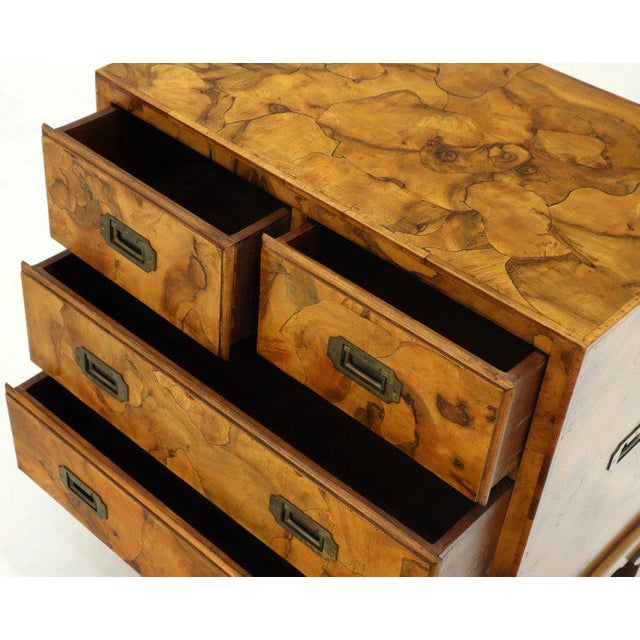 Campaign Style Patch Burl Olive Wood Small Bachelor Chest Dresser Cabinet For Sale - Image 12 of 13
