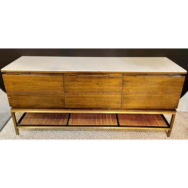 Mid-Century Modern McCobb Cabinet With Glass Top Brass Frame and Caning For Sale - Image 4 of 13