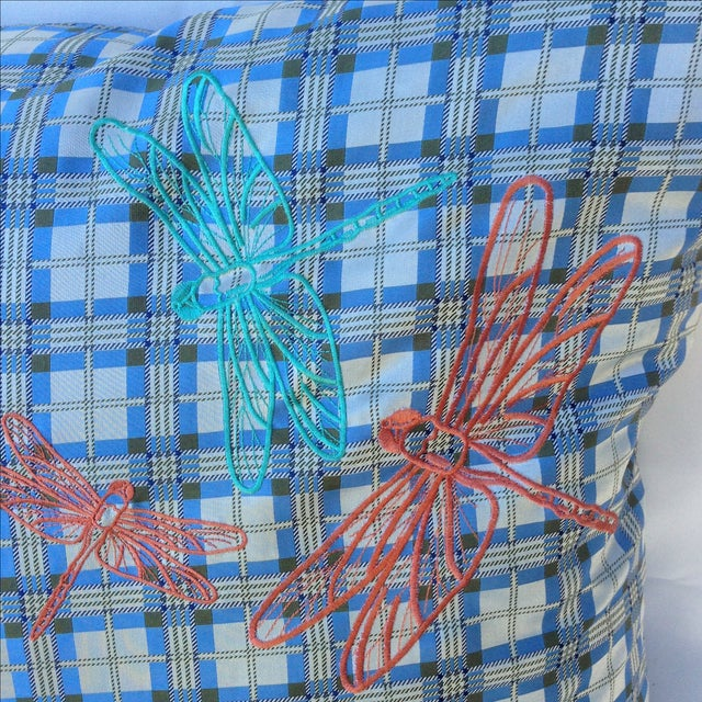Plaid Embroidered Dragonfly Pillow - Image 3 of 5