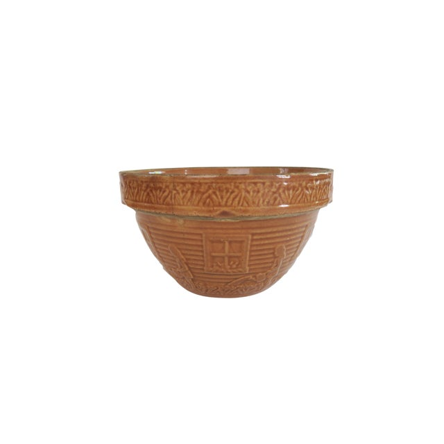 Vintage Little Gardening Girl Brown Glazed Stoneware Pottery Mixing Bowl For Sale
