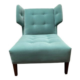"""Transitional Thayer Coggin Robin Egg Blue Velour With Espresso Legs """"Caterpillar"""" Lounge Chair For Sale"""