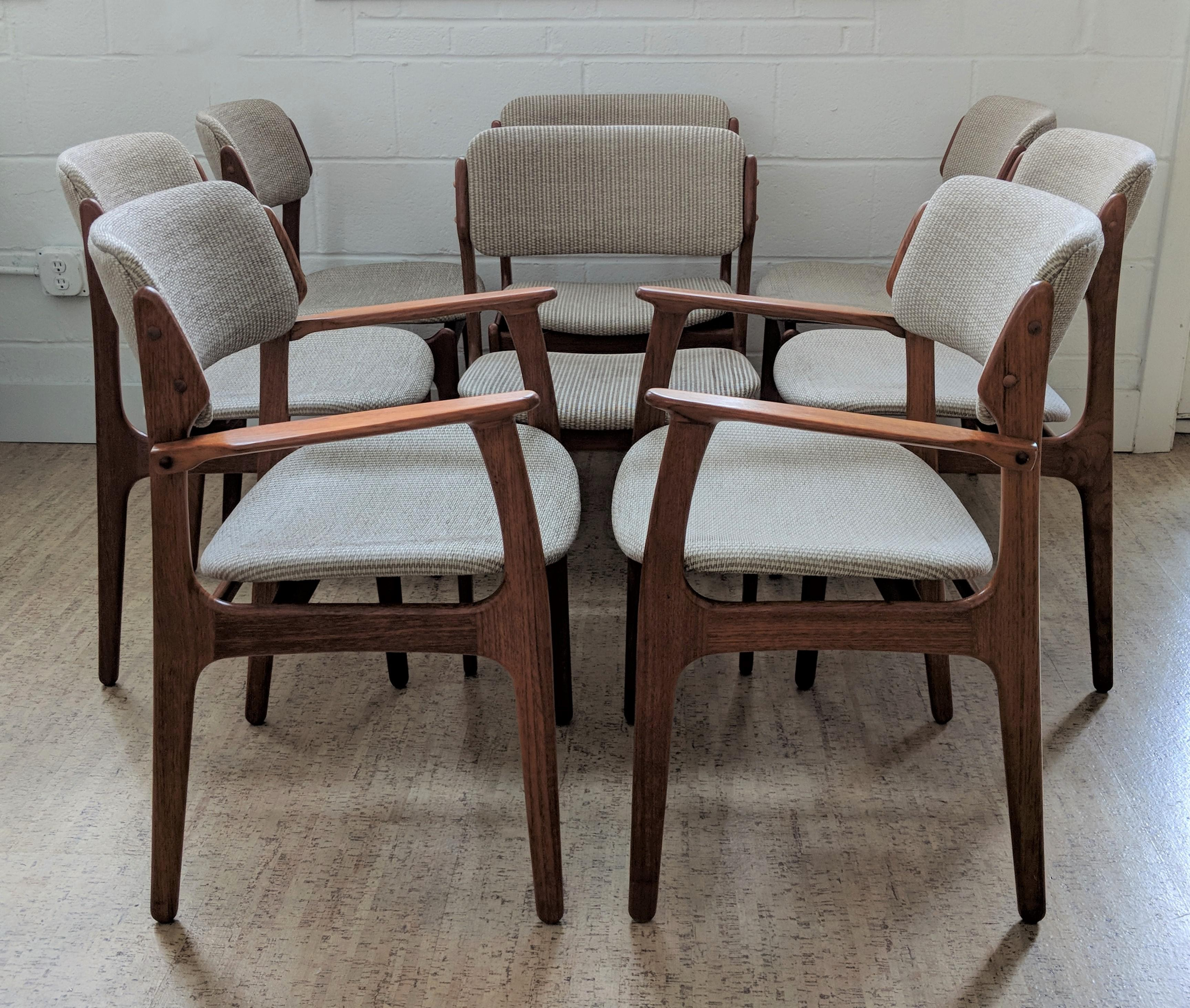 Danish Modern Dining Chairs by Erik Buch for o d Mobler Set of 8 For Sale