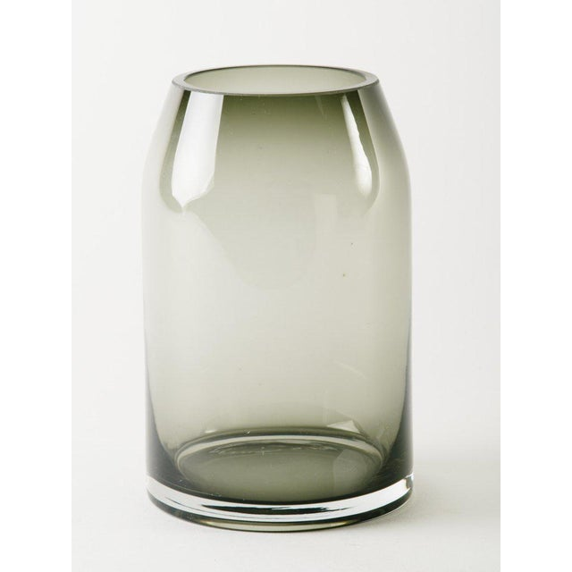 Pair of mid-century blown glass vases in beautiful smoked grey or translucent black. Vases have tapered cylinder forms and...
