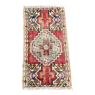 Faded Oushak Distressed Turkish Vintage Small Rug 1′7″ × 2′11″ For Sale