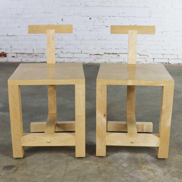 Pair Post-Modern Hand-Crafted Maple Chairs Signed Brice B. Durbin 1996 For Sale - Image 13 of 13