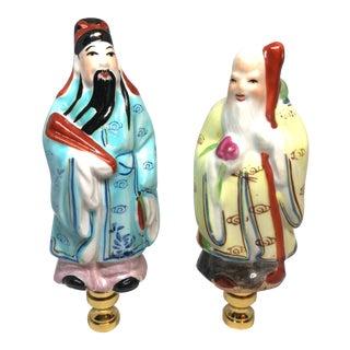Pair of Asian Porcelain Immortals Lamp Finials