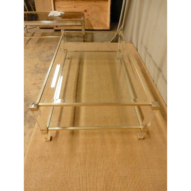 1970s Pierre Vandel Mid-Century Modern Brass and Glass Coffee Table For Sale - Image 5 of 7