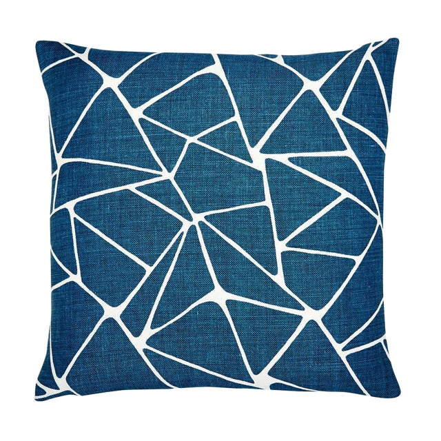 "Modern Navy Blue and White Linen Pillow - 22x22"" For Sale"