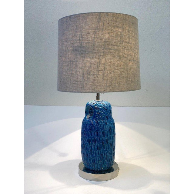 Metal Italian Ceramic and Nickel Owl Table Lamp by Aldo Londi for Bitossi For Sale - Image 7 of 11