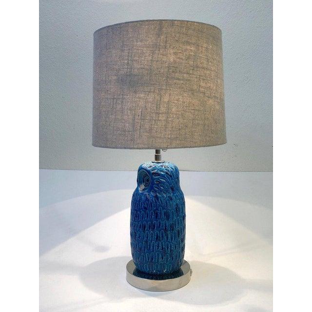 Ceramic Italian Ceramic and Nickel Owl Table Lamp by Aldo Londi for Bitossi For Sale - Image 7 of 11
