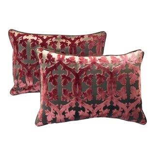 Scalamandre Falk Manor House Cut Velvet Bolster Pillows - a Pair For Sale