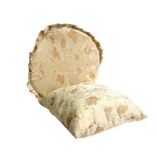 Set Oriental Cream Beige Color Round Square Shape Pillow Cushion For Sale