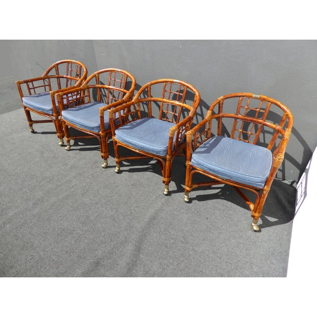 Mid-Century Modern Bamboo & Rattan Arm Chairs - 4 - Image 4 of 11