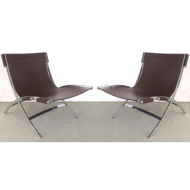 Paul Tuttle, Antonio Citterio for Flexform Italia Scissor Chairs in Stainless Steel & Leather-A Pair For Sale - Image 13 of 13