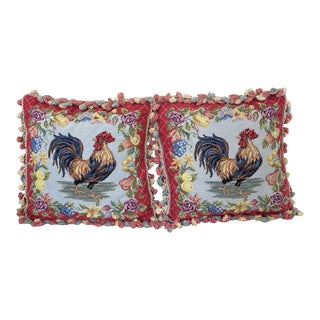 Vintage Needlepoint Rooster Pillows With Tassels - a Pair For Sale