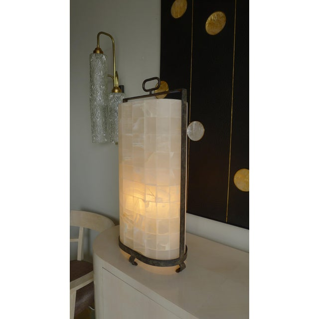 Contemporary Quartz and Iron Lantern Style Tall Table Lamp For Sale - Image 3 of 9