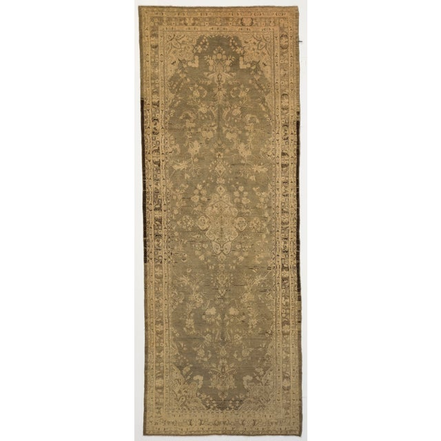 Antique Persian Malayer Rug With Ivory & Brown Floral Details on Beige Field- 5′4″ × 14′4″ For Sale - Image 4 of 4