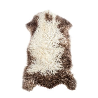 "Contemporary Long Wool Sheepskin Pelt, Handmade Rug - 2'2""x3'3"""
