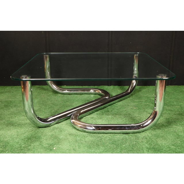 Modern Chrome Tubular Coffee Table - Image 2 of 11