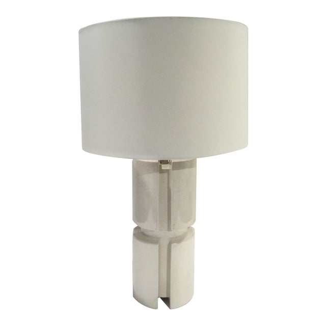 Arteriors Modern White Crackle Glaze Porcelain Skye Table Lamp with Shade For Sale