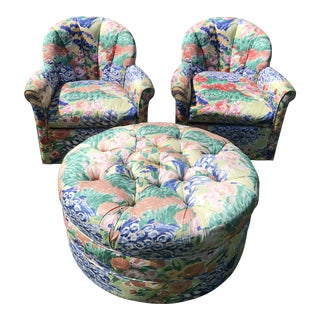 1990s Vintage Inspired Swivel Lounge Chairs & Ottoman For Sale