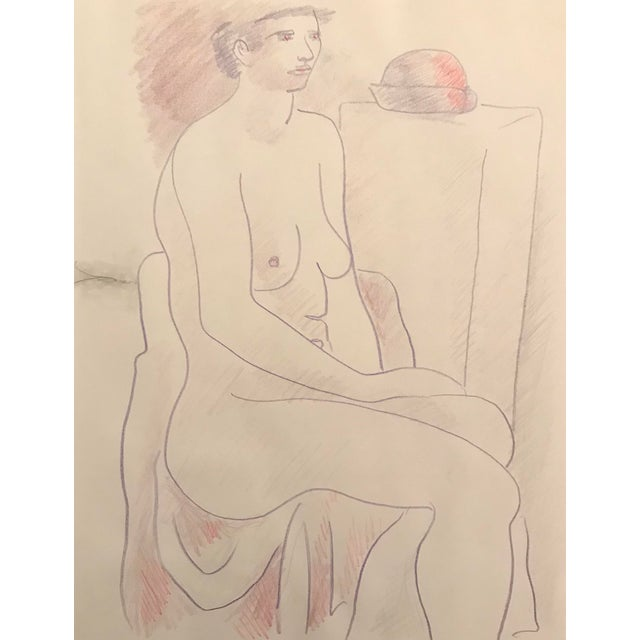 1990s Seated Female Nude Studio Drawing by James Bone For Sale