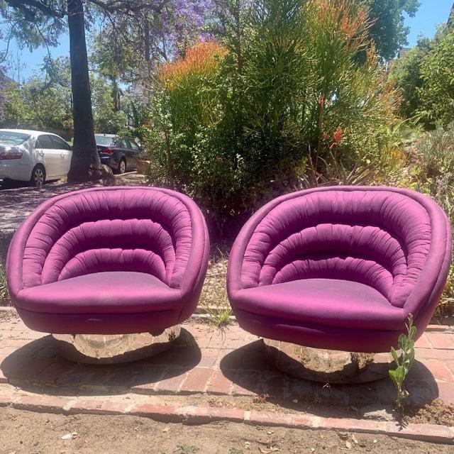 Rare pair of vintage Vladimir Kagan or (Kagan attributed) postmodern lounge chairs. Upholstered with purple iridescent...