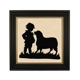"Framed ""Boy and Lamb"" Paper Silhouette in Solid Wood Antique Black Frame With Gold Accent For Sale"