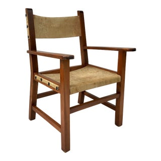 Vintage Rustic Wooden Sling Lounge Chair For Sale