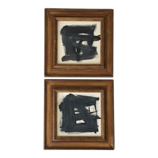 Pair of Black, White, and Gray Abstract Paintings For Sale